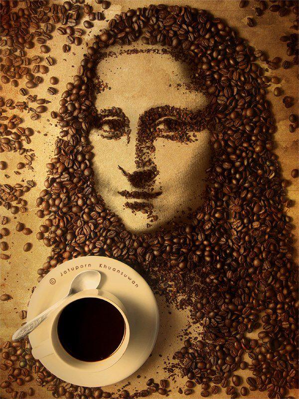 mona lisa z ziarna kawy