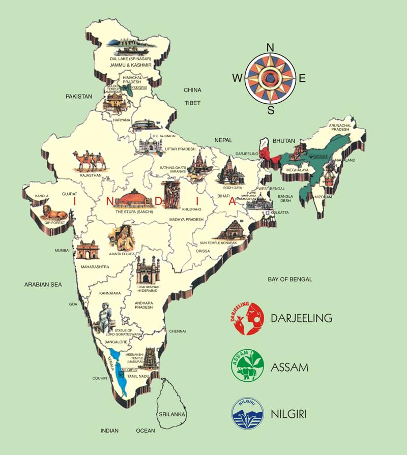 mapa herbat w Indiach
