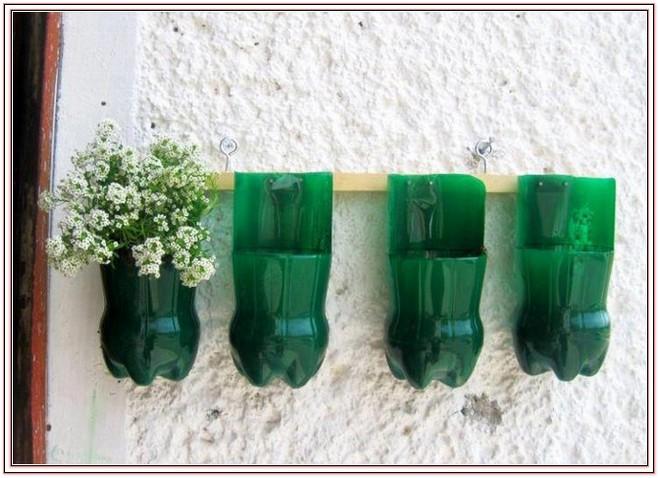 kwiatki w butelkach po wodzie