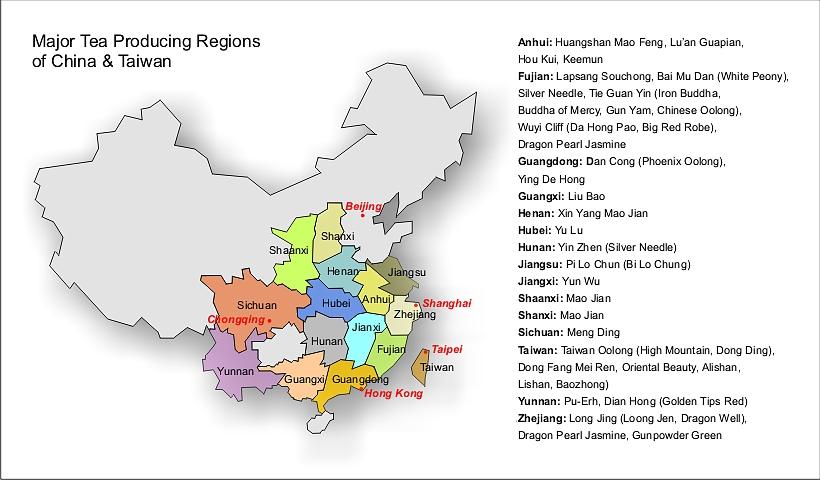 mapa chińskich prowincji herbacianych