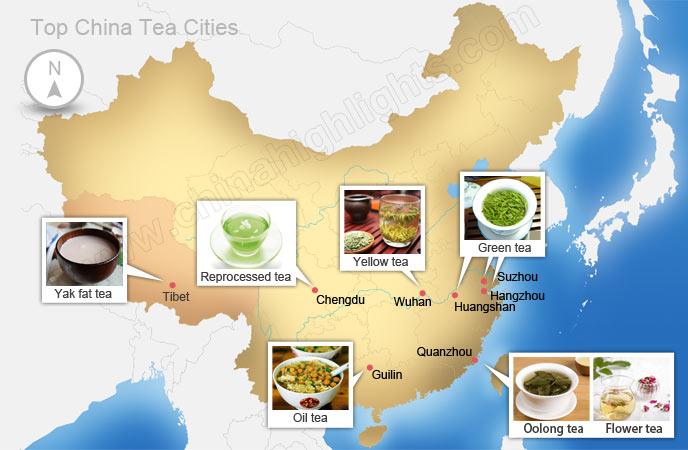 mapa herbat w Chinach
